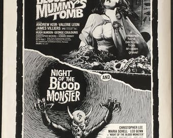 US Pressbook Blood from the mummys tomb- night of the blood monster double bill 1971