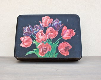 Beautiful Flowers french tin - Large black, pink and green vintage decorative box - Retro kitchen metal canister - French Country style