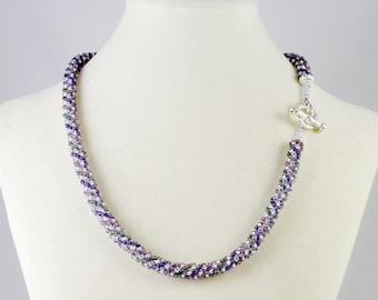 Russian Spiral Beaded Necklace in Mauve, Purple and Gray