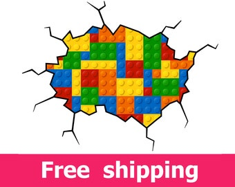 Geometric Lego Wall Decal Colored Building Blocks Lego Decal Plastic  Construction Blocks Lego Wall Sticker Abstract