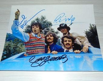 Authentic Beatles Signed Autographed Photograph Paul McCartney George Harrison Ringo Starr