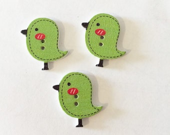 Green Bird Buttons - Extra Large Button - 25 mm Button - 1 Inch Button - Wooden Buttons - Shankless Buttons - Craft Supplies Embellishment