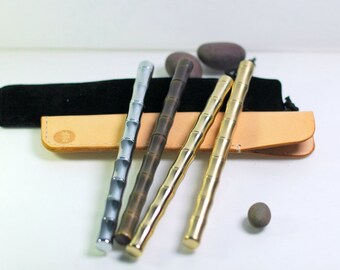 Banboo Brass ballpoint pen with velvet pen bag and w/wo Vegetable tanned leather pen bag