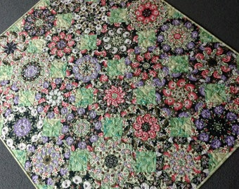 Gilded Floral Kaleidoscope Wall Quilt