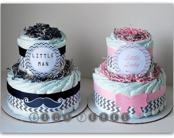 Little Lady , Little Man , Diaper Cake, Baby shower Centerpiece , Baby Shower Decorations , Chevron baby shower , navy, pink, grey