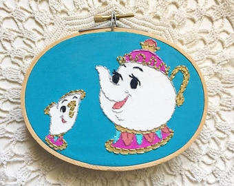 Embroidered Art Hoop - Disney Beauty and the Beast Mrs. Potts and Chip