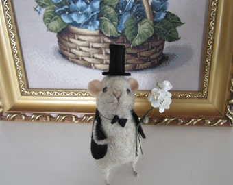 WEDDING Mouse wool toy Animal felted pet Wool decor animal Toy wool Mouse animal felt Wool  animal Miniature decor Felt needle