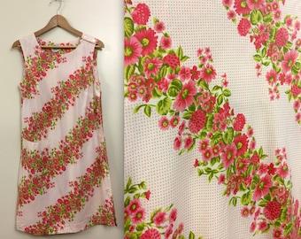 Vintage 1960s Milgrim Floral & Polka Dot Shift Duster Dress - House Coat