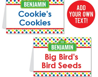 EDITABLE INSTANT DOWNLOAD Sesame Street Party Buffet Cards - Editable, printable table tent cards