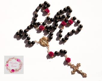 La Rosa Negra Black Onyx Rosary (10mm, Large)