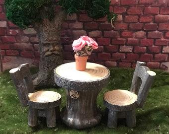 Fairy Garden Miniature table & 2 chairs wood look, miniature garden wood table and chairs, fairy garden accessories, gnome garden wood table