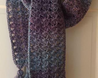 Blue and Purple Tasseled Scarf