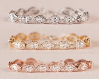 Rose Gold Bridal Bracelet, Crystal Wedding bracelet, Swarovski cz, Rose Gold, Wedding Jewelry, Bridal Jewelry,  Ella Bracelet