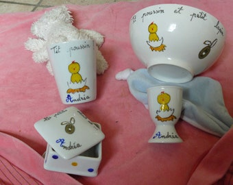 tableware for children personalized comprising 4 pieces