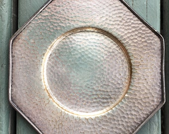 1920s Hammered Silver Octagon Shaped Saucer
