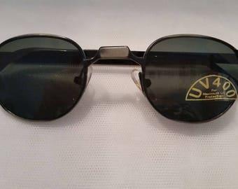 Vintage Metro Square/Round Small Sunglasses. Small Cool Unique Vintage Sunglasses. Brushed Gun Metal  Wire Small Sunglasses.