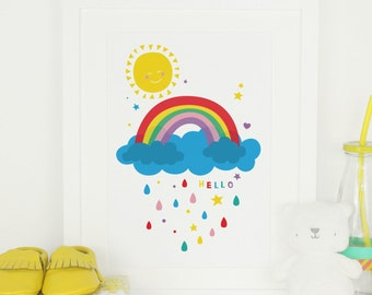 Rainbow Nursery Art Print / Sunshine & Rainbow Wall Art - Nursery Wall Art - Bright Baby Room Picture - Babies Room Wall Art