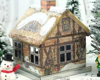 Winter Cat Gnome Home, Gnome Home, Gnome Garden House, Fairy Garden House, Christmas Crafts, Christmas Miniatures, Crafts for Kids