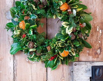 Christmas wreath making kit, christmas wreath kit for front door, natural wreath making, rustic wreath making, floristry materials,