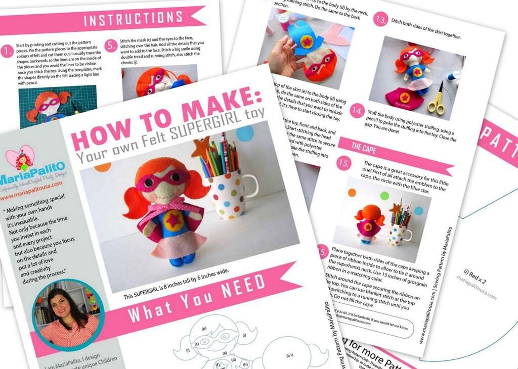 SUPERHERO Sewing pattern - Felt Superhero Toy PDF ePATTERN, Kids ...