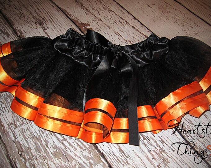 Halloween tutu, Halloween costume, Black Tutu, Orange tutu, Halloween outfit Pettiskirt double lined with Satin Ribbon