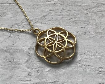seed of life sacred geometry pendant necklace solid brass