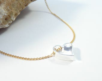 24k gold plated sterling silver necklace with sterling silver heart