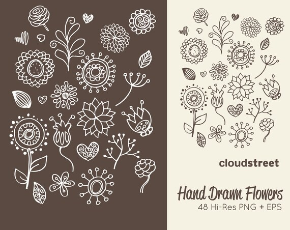 Line Drawing Of Flowers Clipart : Buy 2 get 1 free hand drawn flowers clipart doodle flower