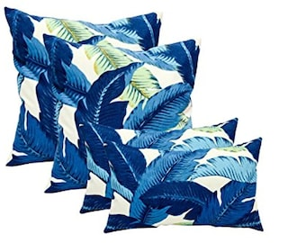 """Set of 4 Decorative Pillows Swaying Palms- Turquoise Blue- 17"""" x 17"""" & 11"""" x 19"""""""