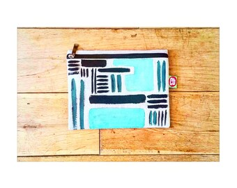 21x 16cm Abstract Print Hemp Pencil Case / Make up Bag (Limited Edition Only 5 Made)