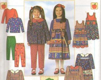 90s Simplicity Sewing Pattern 7732 Dress Tunic Jumper Pants Size 5 – 6x Apple Tree