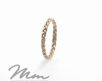 White Gold Ring, Thin Gold Rings, Stacking Rings White Gold Wedding band, Braided Ring, delicate Stackable Ring Gold Twist Ring