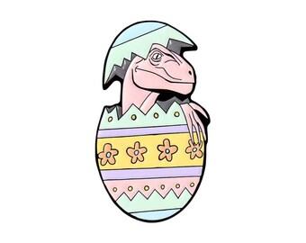 Easter egg dinosaur enamel lapel pin