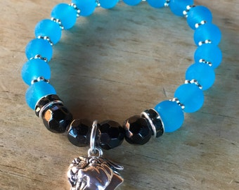 Panthers themed bracelet. Yoga bracelet with frosted and faceted glass beads and Panther charm