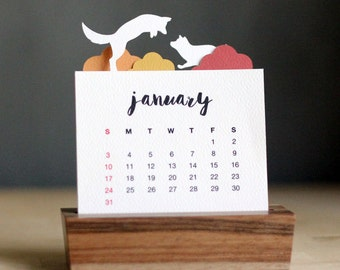 2018 Minimalist Paper Cut Desk Calendar with Solid Wood Stand - Playful Fox