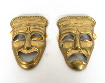 Vintage Brass COMEDY TRAGEDY FACES/wall decor