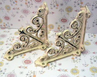 "Wall Bracket Mini 4"" Cast Iron Ornate Small Brace Cottage Shabby Elegance Off White Distressed 1 Pair (2 individual brackets) Fleur"