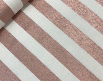 Rose Gold Metallic Stripes in Cream from the Yes Please Collection by Jen Allyson for Riley Blake, Metallic Fabric, Wedding Fabric