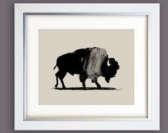 Buffalo Print, Bison Wall Art, Ink Painting on paper, Buffalo painting, 16x20 print, 10x8 print, minimal art, Digital Download art, A2 Art
