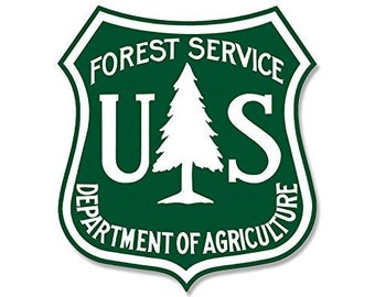 White & Green Us Forest Service Shield Shaped Sticker (Forestry Logo Decal)