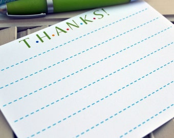 Kids Thank You Note / Kids Thank You Note Cards / Childrens Lined Thank You Note Cards / Kids Lined Notes / Fill In The Blank Thank You Note