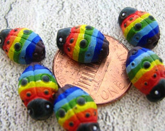 4 Tiny Rainbow Ladybug Beads - CB341
