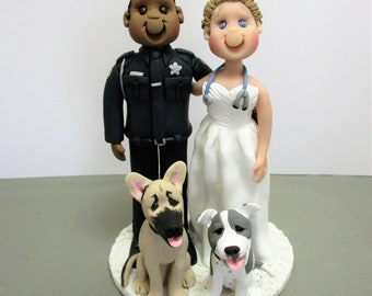 DEPOSIT for Custom made Polymer Clay Police Officer Wedding Cake Topper