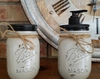 Farmhouse Shabby Chic Distressed Mason Jar Soap Dispenser and toothbrush holder.