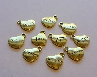 Antique Golden Charms, Golden Family Charms, Charms