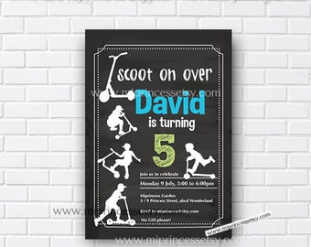 Skateboard Scooter Birthday Party Invitation Cool Modern Edgy
