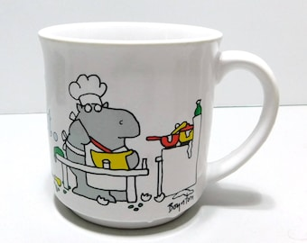 Sandra Boynton Coffee Mug Cup Never Say Diet Hippo Cooking 10-12 oz Ceramic Recycled Paper Products