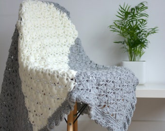 Soft Grey and Cream Crochet Lap/Baby Blanket