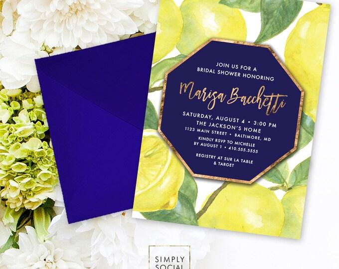 Lemon Bridal Shower Invitation - Fresh Lemon with Navy with Faux Gold Foil Modern Calligraphy Printable Geometric