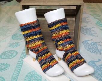 Slouchy Blue/Yellow/Orange Yoga, Pedicure, Pilates, Dance or Flip-Flop Socks